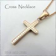 ステンレス ネックレス クロス 十字架 ピンクゴールドレディース メンズ アクセサリー