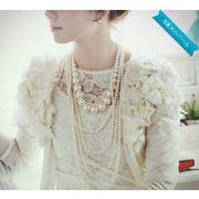 【一部即納】パール 5連ネックレス ロングネックス 真珠 かわいい 大人っぽ ステージ衣装にも