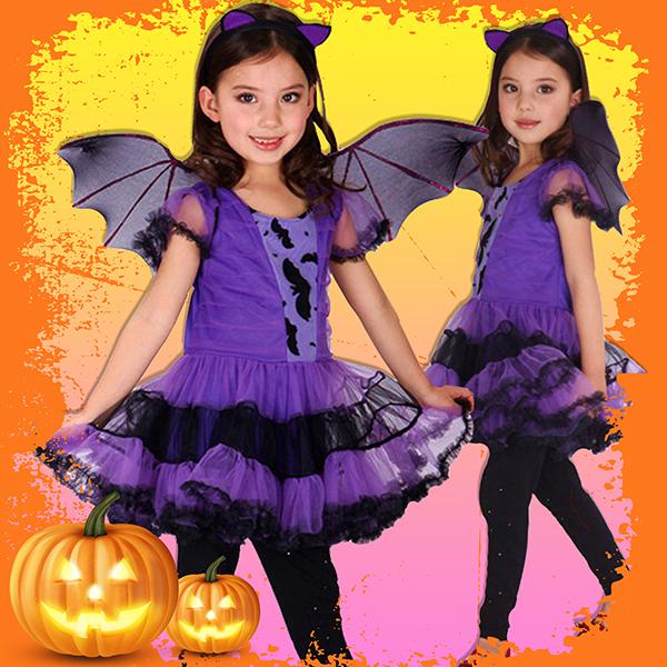 ハロウィン衣装 子供 女の子 仮装 コスチューム ハロウイン ワンピース パープル