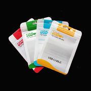 【激安】チャック付OPP袋/ 厚手 ジッパー付OPP(透明)袋 4色/ USBケーブル 梱包 10.5x15cm