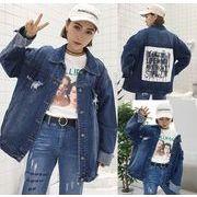 ジャケット 英語 プリント ワッペン ゆったり デニム シングルブレスト 韓国風 #706322