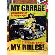 アメリカンブリキ看板 私の車庫では私がルール