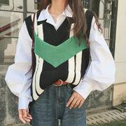 秋 新しいデザイン ファッション セット 学生 複数色 セーター ベスト パフ シャツ
