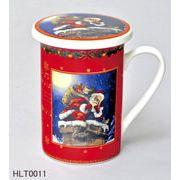 <AMANO>【クリスマス】【マグカップ】蓋付きマグカップ・サンタ 2種