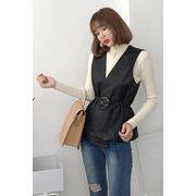 秋 新しいデザイン 女性服 韓国風 着やせ Vネック PUレザー ベスト 気質 ひもあり