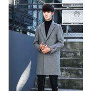 秋冬メンズ長袖コート カジュアルジャケット 通勤ファッショングレー/ブラック2色