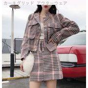 韓国風 ファッション レジャー セット 秋冬 短いスタイル グリッド ウールのコート +