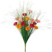 ポピー 造花 仏花 グラスミニアネモネブッシュ 全長48cm・花径4cm オレンジレッド