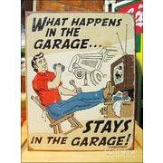アメリカンブリキ看板 自動車修理 ガレージ Schonberg-Happens in Garage