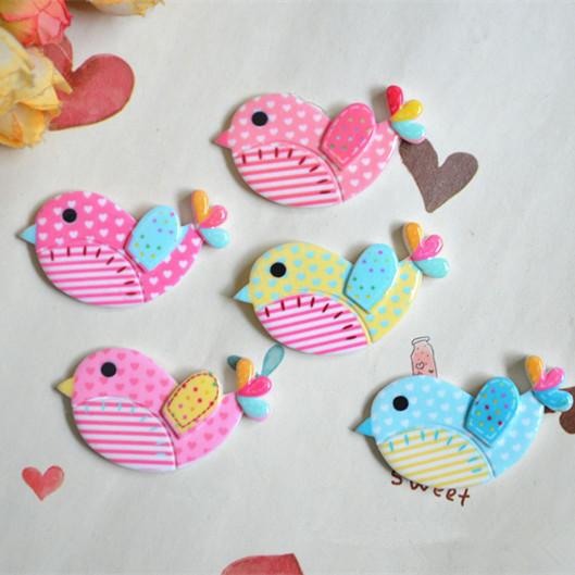 可愛い小鳥の動物パーツ - 手芸 クラフト 生地 材料 全3色