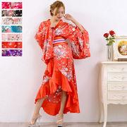 【再入荷】0367帯付きゴールドパイピングフリル花魁着物ロングドレス 和柄 衣装 コスプレ キャバドレス