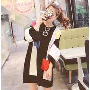 レディーストップス  2色 ニットワンピ  ニットセーター  ロングニット  チュニック 通勤 通学人気 韓国風