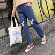 デニムパンツ 刺繍 ゆったり デニム 可愛い カワ かわいい プレッピースタイル r3000903