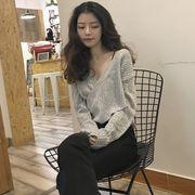 韓版chicセクシーなクロス深Vネック長袖セット頭灰色ショートセーター女秋冬百搭ニットチ