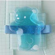 ひえクマ ランチバンド付保冷剤 透明×ブルー(お弁当グッズ ランチグッズ)