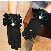 ★2017秋冬★レディースファッション 手袋 グローブ リボン パール 防寒