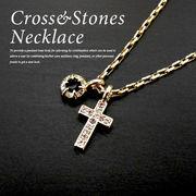メンズ/レディース/stones necklace/クロスネックレス/キュービックジルコニア使用
