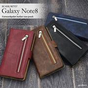 <ギャラクシー用>Galaxy Note8 SC-01K/SCV37用ファスナー&ポケットレザーケースポーチ