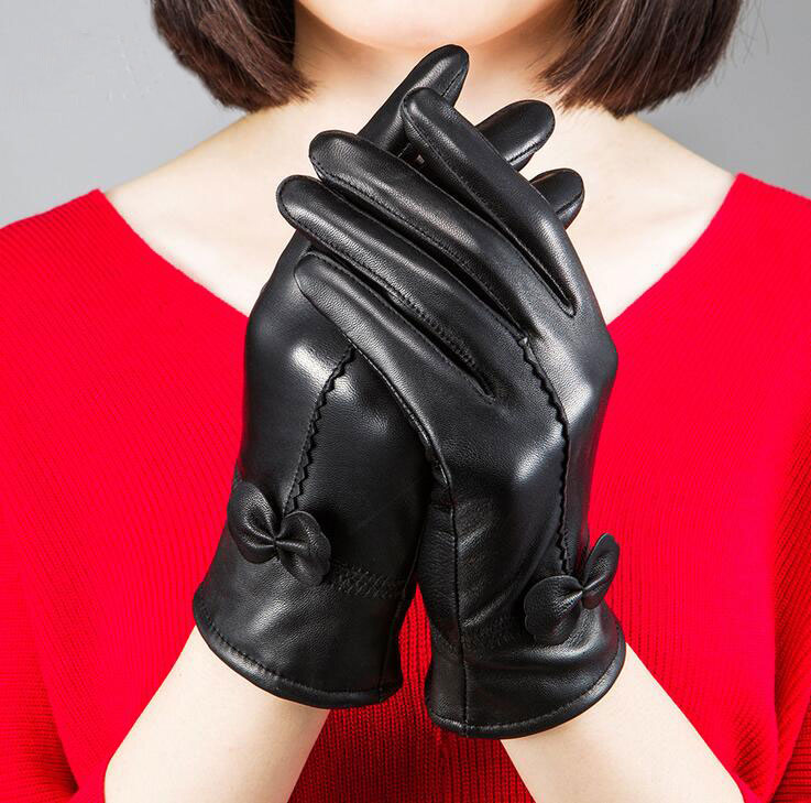 手袋 レディース 裏起毛 本革手袋 グローブ 防寒手袋 シープスキン レザーグローブ バレンタイン