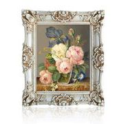 絵画 手描き油彩  鮮やかな魅惑の花画   額装付 額寸約70cm x 60cm 豪華額 抜群 希少 綺麗