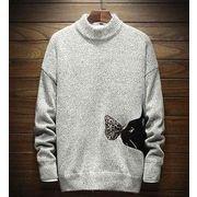 秋冬メンズセーター トップス(ニット) カジュアル♪ダークグレー/ライトグレー/オフホワイト3色