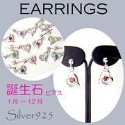 ピアス / 6-132 ◆ Silver925 シルバー 誕生石 ハート ピアス 全12種