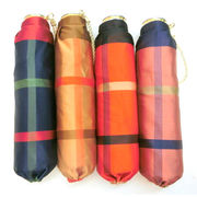 【日本製】【雨傘】【折りたたみ傘】甲州産先染格子生地超軽量・超短日本製丸ミニ折畳傘