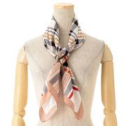 【スカーフ】ポリエステルチェック&ベルト柄イタリー製スクエアスカーフ