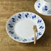 ブルーパターン 24cm少し大きめカレー皿(パスタ皿) コノハ[美濃焼]