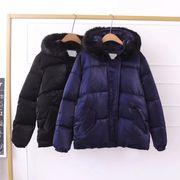 大きいサイズ ファーフード付中綿ジャケット アウター ダウン風コート 防寒 秋冬 2L/3L/4L/5L/6L 4113