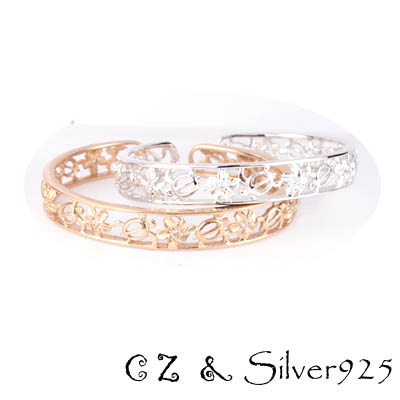バングル / 3-208  ◆ Silver925 シルバー バングル ホヌ&フラワー CZ