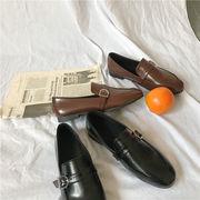 韓国風 秋と冬 新しいデザイン ディープ口 女靴 フラッツ 何でも似合う ベルトバックル