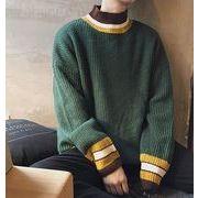 秋冬メンズセーター トップス(ニット) シンプル ファッション♪グリーン/ブラック/グレー3色