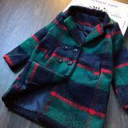 小 少女 個性 ラペル シンプル グリッド 外套 キッズ洋服 秋と冬 女児 赤ちゃん ダ