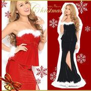 【クリスマス*上質】CUTE&SEXY!!ふわふわブレス付き♪2ピースペプラムロング サンタクロース サンタドレス