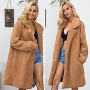ロングコート ゆったり モコモコ 無地 モコモコネック 毛襟 ファッション シンプル #200008
