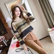 ニット 羽織り ゆったり ラウンドネック カットソー ボーダー柄 韓国風 全2色 #200281