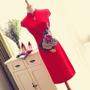 結婚式 刺繍 韓版ノースリーブ 花嫁ブライド ウェディングドレスロング 遣り取り ドレス  赤い