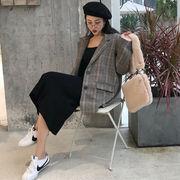 秋冬 新しいデザイン 女性服 アンティーク調 気質 グレーグリッド 手厚い 中長デザイン