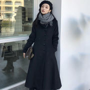 冬 女性服 韓国風 中長デザイン ラペル ダブルブレスト 羊毛の アウターウェア 気質