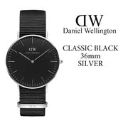 ダニエルウェリントン DANIEL WELLINGTON 腕時計 Classic Black 36mm シルバー NATOベルト