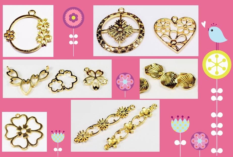 【春夏アクセサリー】アンティークパーツ 桜フレーム さくら空枠 さくらチャーム