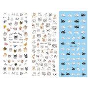 1枚 選べる8タイプ 極薄ネイルシール アニマル 猫 兎 白鳥 鹿 オウム フラミンゴ ジェルネイル