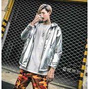 秋冬メンズジャケット メンズコートフード付け カジュアルhip-hop♪シルバー/ゴールド2色