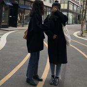 韓国風 アンティーク調 手厚い ウールコート 女 ルース 中長デザイン 単一色 何でも似