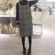 韓国風 秋冬 新しいデザイン 羊毛の ひもあり グリッド ワンピース 女子学生 ボトム