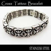 ステンレス ブレスレット メンズ レディース クロス 15連 ブレス 腕輪 シルバー アクセサリー