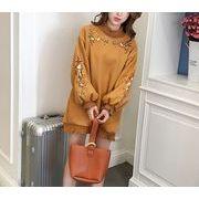 ラシャワンピース 刺繍 ボリューム袖 ハイネック フリル フラワー 体型カバー 全2色 r3001706