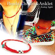 メンズ アンクレット チョーカー ネックレス Beads Choker&Anckle