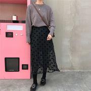 裏 小 秋冬 女性服 韓国風 何でも似合う ブラック ポルカドット スカート 中長デザイ